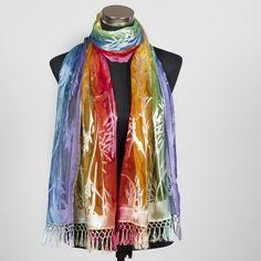 'Rainbow', beautiful silk scarf hand painted by Marlyse Carroll