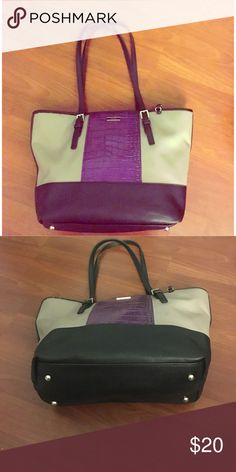 """Nine West purple, gray and black tote Purple snake skin design with gray and black handles. Interior is purple, fits 13"""" laptop. Nine West Bags Totes"""
