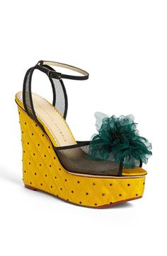 Charlotte Olympia Yellow 'Miranda in Bloom' Wedge Sandal €1.009 Pre-Spring 2014 #Wedges #Shoes