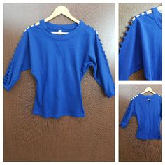 Last few pieces remaining: Cut Work on Arms ..., visit http://ftfy.bargains/products/cut-work-on-arms-casual-tee-electric-blue?utm_campaign=social_autopilot&utm_source=pin&utm_medium=pin  #amazing #affordable #fashion #stylish