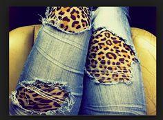 diy scheuren broek met panterlegging eronder