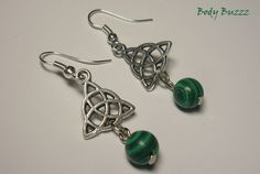 Beautiful Celtic triquetra earrings! Malachite Stones. Come with silver hooks! Celtic, pagan, wiccan. Trinity knots with circle centre.  https://www.etsy.com/ca/listing/236317049/beautiful-celtic-triquetra-earrings?ref=shop_home_active_4