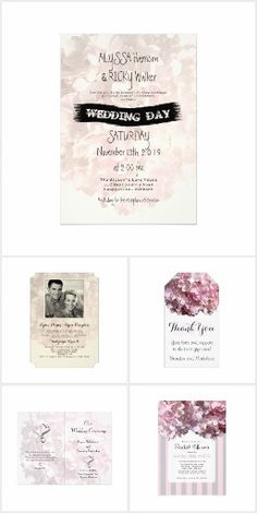 Modern, pink floral wedding invitation suite, featuring big hydrangea blooms and typography text.  Fun and bright, wedding day stationery and matching items, such as bags for the bridal party.
