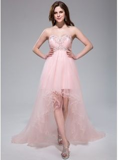 Prom Dresses - $175.99 - Empire Sweetheart Asymmetrical Tulle Prom Dress With Ruffle Lace Beading Sequins  http://www.dressfirst.com/Empire-Sweetheart-Asymmetrical-Tulle-Prom-Dress-With-Ruffle-Lace-Beading-Sequins-007040811-g40811