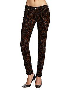 Leopard Sateen Skinny Jeans
