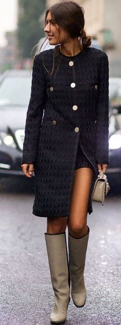 Black Coat With Wide Silver Buttons Fall Street Style Inspo #Fashionistas