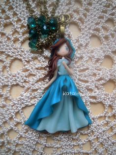 Kawaii chibi ooak doll forest girl polymer clay fimo necklace