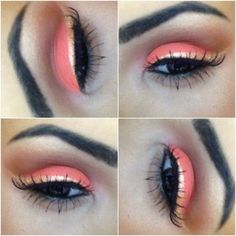 Coral and Brown Eye Makeup with Gold Eyeliner