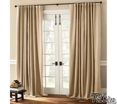 DIY Window Treatments and window treatments for french door windows. Patio Door Window Treatments, House, Home, Diy Window Treatments, Door Window Treatments, French Doors Patio, French Door Window Treatments, Sliding Door Curtains, Patio Door Coverings