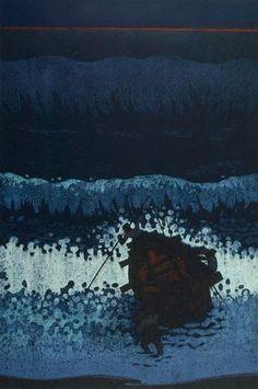 Fukushima Ichirô: Going Fishing C (Shutsugyo C), Shôwa period, dated 1966 - Harvard Art Museum