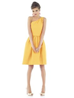Alfred Sung - Bridesmaid Dress Weddington Way Alfred Sung Bridesmaid Dresses, Yellow Bridesmaid Dresses, One Shoulder Bridesmaid Dresses, Bridesmaid Dress Styles, Wedding Dresses, Bridesmaid Color, Dessy Bridesmaid, Bridesmaid Ideas, Cocktail Length Dress