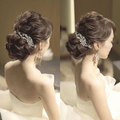 The earrings are beautiful and suit her long neck and bare shoulders. They meld nicely with the hair piece. The two angles allow a view of her hair style, somewhat  curly and not as long but still very nice.
