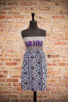 I'm Yours BRIDE To Be Dress Purple/Black Size by thearmorofGod, $49.00 Honeymoon Dress, Bridal Shower, Bachelorette Party, Black & White Wedding, Bride Dress, Purple & Grey, Indie Wedding