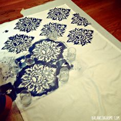 Stenciled No Sew Faux Roman Shade; could use this same tutorial for canvas rug