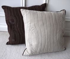 """Eco friendly stitched wood grain """"faux bois"""" decorative pillow cover, made from recycled fabric - beige print. via Etsy. Wood Cafe, Straight Line Quilting, Brown Pillows, Recycled Fabric, Decorative Pillow Covers, Boy Room, Quilting Designs, Wood Grain, Making Ideas"""