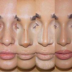 – Contour Tips for a slimmer nose - Makeup Tips Highlighting Make Up Contouring, Nose Contouring, Contouring And Highlighting, Contouring Tutorial, Nose Makeup, Contour Makeup, How To Contour Nose, Liquid Contour, Airbrush Makeup