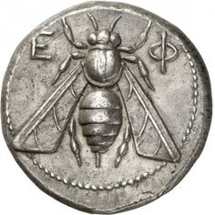 Bee Coin From Ephesos, Ionia, C. 390-325 BCA silver tetradrachm. Obverse: Magistrate Antialkidas. E-Φ , bee with straight wings. Reverse: ANTIAΛKIΔAΣ, forepart of a stag to right, its head turned back to face left, a palm-tree on left. Ephesos...