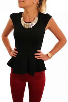 statement necklaces, peplum tops, red jeans, peplum outfits, peplum top outfits, work outfits, shirt, black peplum top, red pants