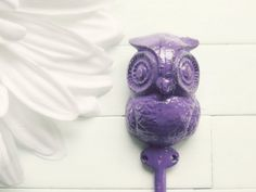 Hey, I found this really awesome Etsy listing at http://www.etsy.com/listing/153133452/purple-home-decor-iron-owl-hook-owl