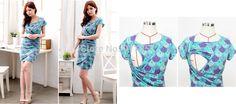 Free shipping Fashion Elegant floral print blue sunflower Pattern Slim maternity breastfeeding dress nursing dress