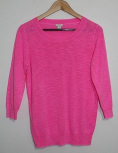 $39.95 OBO Women's J Crew Bright Pink Round Neck 3/4 Sleeve Sweater Size: Small #JCrew #RoundNeck