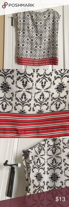 🎉Just Listed🎉 Damask Print Liz Claiborne Top Damask Print Liz Claiborne work Top. Poly top with a silky feel. Black and white damask Print with red and black stripe bottom for effect. Back and fish eye closure with small slit (pictured). Great under a suit or with jeans. Cap sleeves- gently used/ like new. Liz Claiborne Tops Blouses