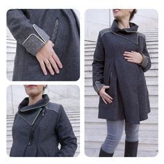 This is in French. 07h00, petit matin gris. I love this gray coat with it's pockets, zippers, and cool collar detail. Perfect for maternity in the winter.