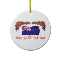Shop New Zealand Happy Christmas Ceramic Ornament created by worldshop. Christmas Christmas, Christmas Tree Ornaments, White Porcelain, New Zealand, Messages, Ceramics, Holiday Decor, Happy, Prints