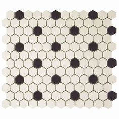 SomerTile 'Manhattan Hex Antique White with Dot' 10.25x12-inch Unglazed Porcelain Mosaic Tiles (Pack of 10)
