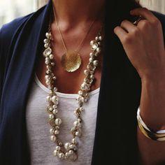 #chloeandisabel Pearl + Crystal Drops Long Necklace
