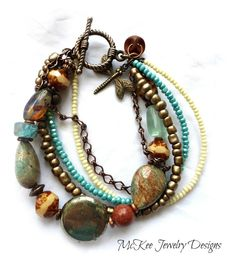 Into the wild. Stone, seed beads, chain, Czech glass and copper metal bracelet. Dragonfly charm.