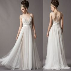 Empire Tulle White Ivory Wedding Dresses with Illusion Neck and Appliques Bodice