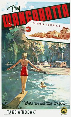 Vintage Illustratie-Affiche-Reclame ~Try Wangaratta, Victoria, Australia van James Northfield Vintage Advertisements, Vintage Ads, Vintage Ephemera, Vintage Prints, Posters Australia, Australian Vintage, Tourism Poster, Images Vintage, Travel Ads