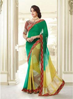 Lush Green & Yellow Embroidered #Saree #designersarees #clothing #womenswear #womenapparel #ethnicwear