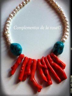Collar perlas y coral