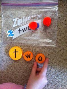 Bottlecap Number Words Activity Baggie Sets.