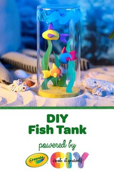 Using Crayola Model Magic, Washable Paint, Construction Paper, and Glue, you can create an amazing aquarium with fish you will never have to feed! Craft Projects For Kids, Easy Crafts For Kids, Summer Crafts, Art For Kids, Activities For Kids, Craft Kids, Fish Crafts, Jar Crafts, Ck Summer