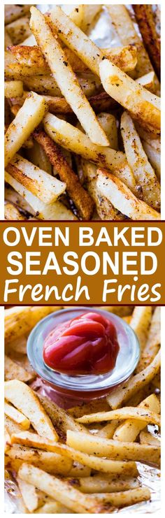 Baked Seasoned French Fries - Deliciously seasoned, golden french fries prepared in the oven!Oven Baked Seasoned French Fries - Deliciously seasoned, golden french fries prepared in the oven! Seasoned French Fries Recipe, Baking French Fries, French Fries In Oven, French Fry Recipe Baked, French Fry Seasoning, Seasoned Fries, Potato Dishes, Food Dishes, Side Dishes