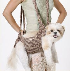 over the shoulder crochet purse | purse the carrier part is made like a sling harness and the dog s ...