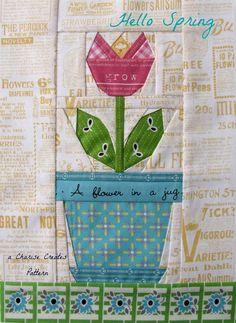 free pdf...Charise Creates: Hello Spring Tulip & Tote Bag free block pattern