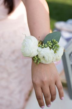Juliane and Jason Wedding Corsage - White Ranunculus, Seeded Eucalyptus, Silver Dollar Eucalyptus and Olive Leaves