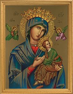 Our Lady Of Perpetual Help Framed Print in frame with glass. The Virgin Mary Our Lady of Perpetual Help is known to help with the most difficult cases. Made of Cardstock, glass and Polystyrene Measure