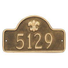 Montague Metal Fleur de Lis Lexington Arch Petite Address Sign Wall Plaque - PCS-0061P1-W-BS