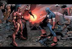 Comics Civil War  Iron Man Captain America Wallpaper