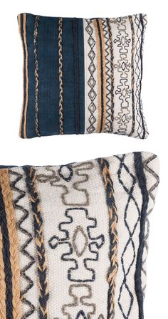 Strips of variegated weave, braided cordage, and geometric embroidery are married to make one contemporary design that'll beautifully adorn your much-loved living spaces. The blend of navy, latte, ivor...  Find the Montage Throw Pillow, as seen in the #PerfectlyDistressed Collection at http://dotandbo.com/collections/perfectlydistressed?utm_source=pinterest&utm_medium=organic&db_sku=117025