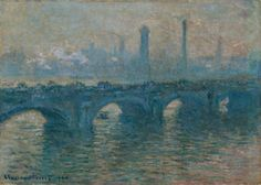 Waterloo Bridge, Overcast Weather Artwork By Claude Oscar Monet Oil Painting & Art Prints On Canvas For Sale Famous Impressionist Paintings, Monet Paintings, Landscape Paintings, Claude Monet, Artist Monet, Art Nouveau, Waterloo Bridge, Art Sur Toile, Bridge Painting