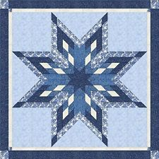 DELFT PORCELAIN BLUE STAR QUILT TOP - Not Quilted