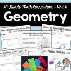 Geometry Unit for 6th Grade Math 6th Grade Math Curriculum Unit 6This unit includes four multi-day lessons that the following skills :* Area of Squares, Rectangles and Triangles* Area of Parallelograms, Trapezoids and Special Shapes* Polygons in the Coordinate Plane* Surface Area and Nets* Volume of Rectangular PrismsIncluded in this resource: Weekly warm up recording sheetsWeekly exit ticket sheetsBlank lesson plansUnit vocabulary sheetUnit pre-assessmentUnit post assessment Warm…