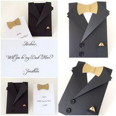 Tuxedo Card Bow Tie Card Mens Suit Shaped by CallMeCraftie