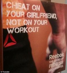 This is what's wrong with the world.    Reebok has since stopped circulating this ad. That doesn't change the fact that whomever approved it in the first place is still a total freaking douche. (from WTFPinterest.com)